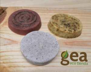 Foto: Gea Ecotienda. Shampoo sólido de Mirada Interior:cacao,lavanda,menta. Artesanal.